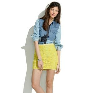 Madewell Meadowlace Yellow Mini Skirt Size 4